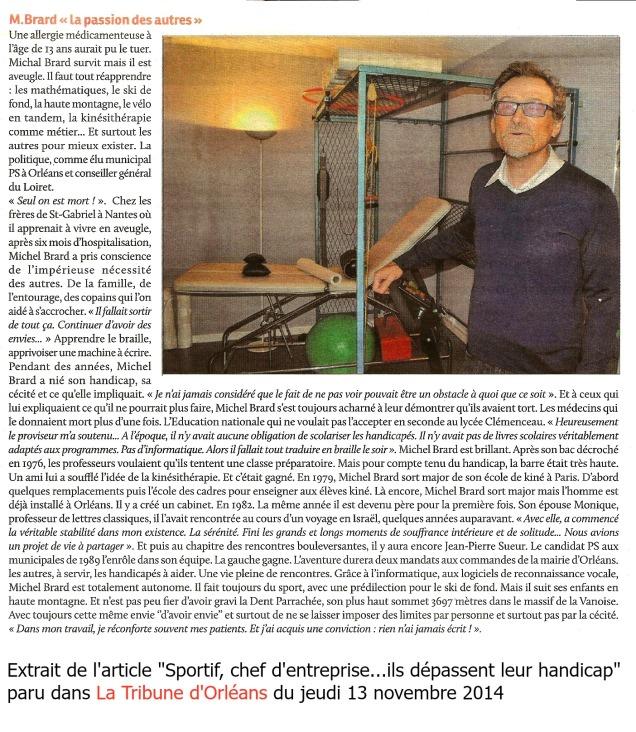 article sur michel brard paru dans La Tribune d'Orléans le 13 nov 2014