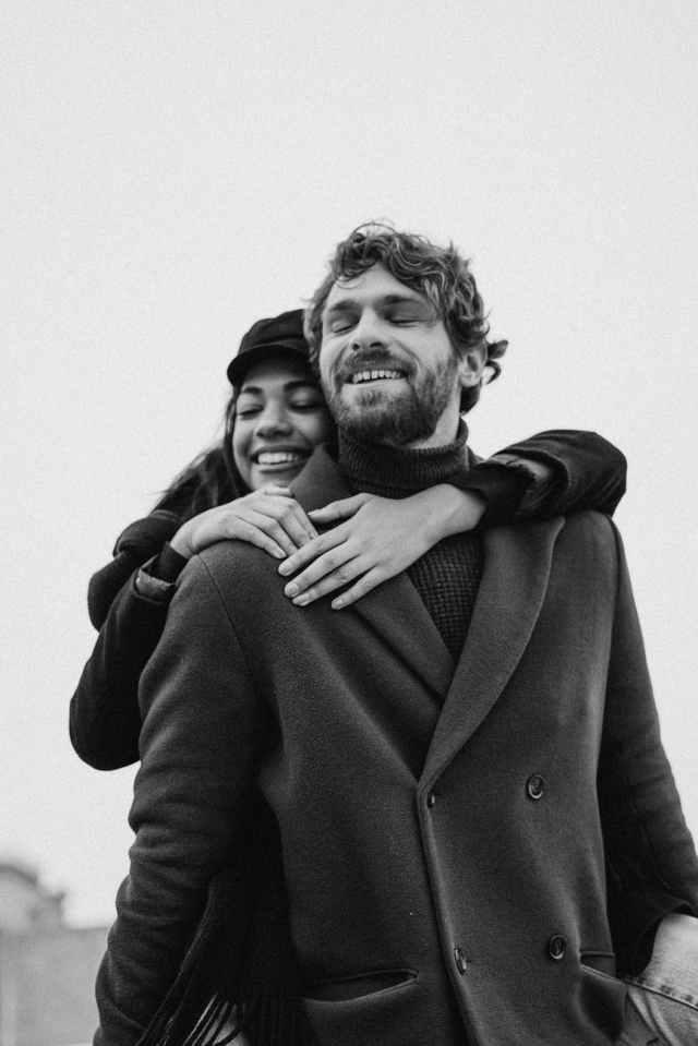 rhume froid noir et blanc couple